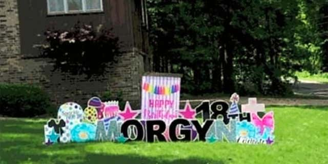 """When I had ordered the birthday sign, we agreed to only get black letters,"" the birthday girl's mom told Fox News. ""When I got home, it wasn't just black letters."" (Morgyn Shelton)"