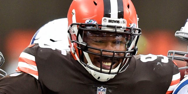 FCleveland Browns defensive end Myles Garrett (95) rushes the passer during the first half of an NFL football game against the Indianapolis Colts in Cleveland, in this Sunday, Oct. 11, 2020, file photo. (AP Photo/David Richard, File)
