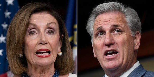 House Speaker Nancy Pelosi, D-Calif., and Minority Leader Kevin McCarthy, R-Calif., are backing dueling unanimous consent requests on the House floor on Christmas Eve after President Trump earlier this week aired grievances about the massive government funding and coronavirus legislation lawmakers sent to his desk. (AP)
