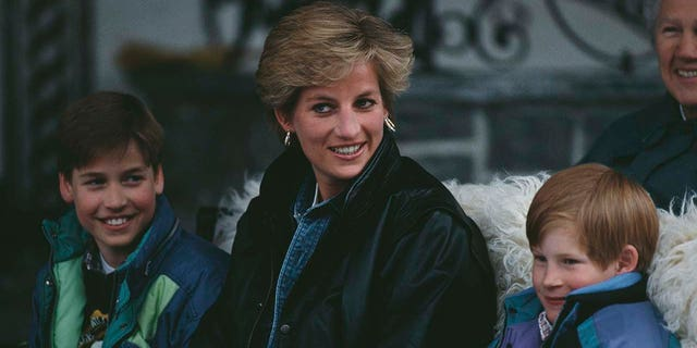 Diana, Princess of Wales (1961 - 1997) with Prince William and Prince Harry during a skiing holiday in Lech, Austria, 30th March 1993.