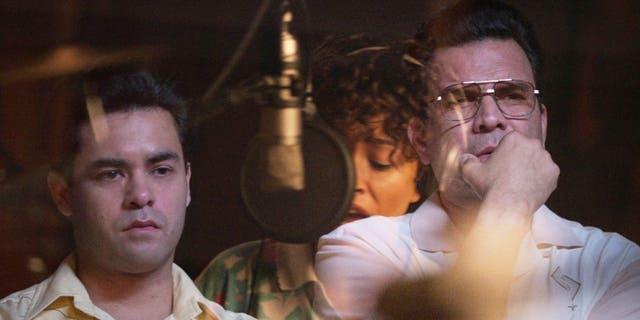 (L to R) GabrielChavarria as A.B. Quintanilla and Ricardo Chaviraas Abraham Quintantilla.