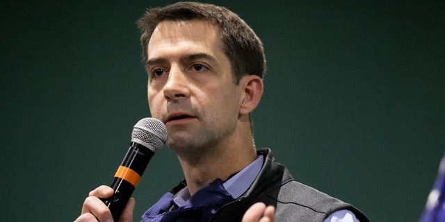 Sen. Tom Cotton (R-AR) speaks to the crowd during a