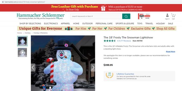 Hammacher Schlemmer sells an 18-foot inflatable snowman for $399,95. (Hammacher Schlemmer)