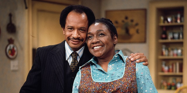 "Isabel Sanford (right) and Sherman Hemsley (left) in ""The Jeffersons."" (CBS via Getty Images)"