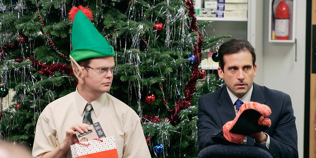 "Rainn Wilson and Steve Carrell in ""The Office."" (Paul Drinkwater/NBCU Photo Bank)"