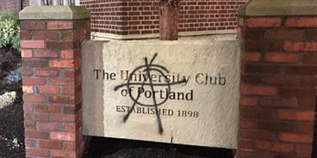 The University Club of Portland, one of many properties that was vandalized Wednesday night.