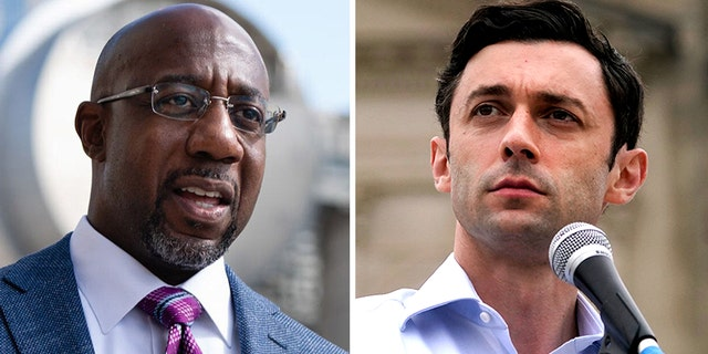 라파엘 워녹 (왼쪽) and Jon Ossoff (권리) are the Democratic candidates in the Jan. 5 Senate runoff elections in Georgia.