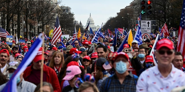 """People gather on Pennsylvania Avenue for the """"Stop the Steal"""" rally in support of U.S. President Donald Trump, in Washington, U.S., December 12, 2020. (Reuters)"""