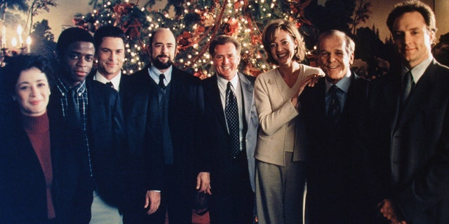 "Cast of ""The West Wing"" while filming ""In Excelsis Deo."" (Eric Liebowitz/NBCU Photo Bank)"