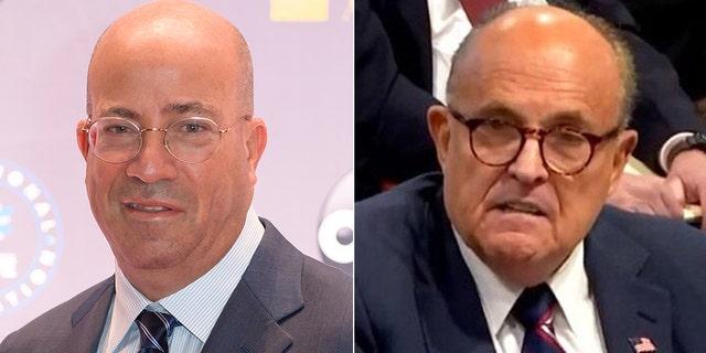 "CNN's Jeff Zucker, left, referred to Rudy Giuliani as a ""useful idiot."""