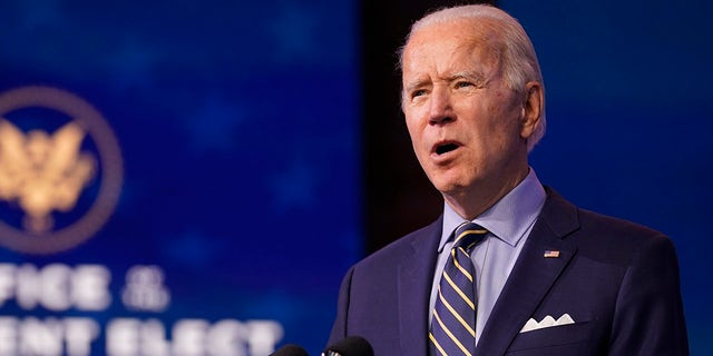 President-elect Joe Biden speaks at The Queen theater, Monday, Dec. 28, 2020, in Wilmington, Del. Biden in 2017 gaveled down several Democratic House members lodging objections to then-President-elect Trump's electoral votes. (AP Photo/Andrew Harnik)