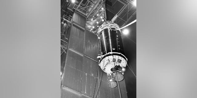 "This 1964 photograph shows a Centaur upper-stage rocket before being mated to an Atlas booster. A similar Centaur was used during the launch of ""Surveyor 2"" two years later. Credit: NASA"