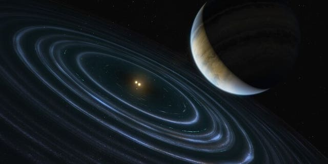 "This 11-Jupiter-mass exoplanet called HD106906 b occupies an unlikely orbit around a double star 336 light-years away and it may be offering clues to something that might be much closer to home: a hypothesized distant member of our Solar System dubbed ""Planet Nine."" This is the first time that astronomers have been able to measure the motion of a massive Jupiter-like planet that is orbiting very far away from its host stars and visible debris disc. (Krediet: ESA/Hubble, M. Kornmesser)"