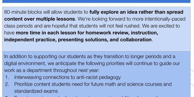 "A description for the school's mathematics program includes the agenda item: ""Interweaving connections to anti-racist pedagogy."""