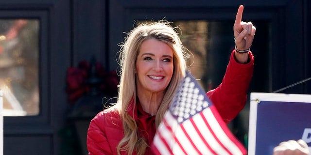 Sen. Kelly Loeffler, R-Ga., gestures as she speaks during a campaign rally, Monday, Dec. 21, 2020, in Milton, Ga. (AP Photo/John Bazemore)