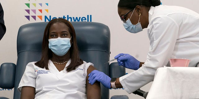 Sandra Lindsay, left, a nurse at Long Island Jewish Medical Center, is inoculated with the Pfizer-BioNTech COVID-19 vaccine by Dr. Michelle Chester, Monday, Dec. 14, 2020, in the Queens borough of New York. (AP Photo/Mark Lennihan, Pool)