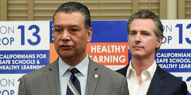 California Secretary of State Alex Padilla toured Mark Twain Elementary School before speaking at this press conference to promote support for Proposition 13, the historic school facilities bond, in Long Beach, February 28, 2020. (Photo by Brittany Murray/MediaNews Group/Long Beach Press-Telegram via Getty Images)