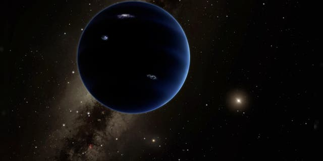 Artist's illustration of Planet Nine, a hypothetical world that some scientists think lurks undiscovered in the far outer solar system. (R. Hurt (IPAC)/Caltech)