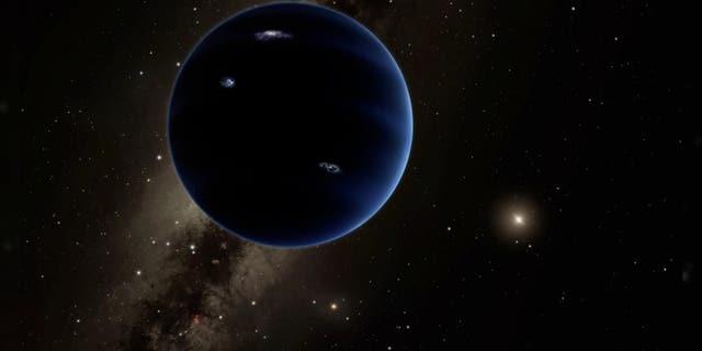 Ilustración artística del Planeta Nueve, un mundo hipotético que algunos científicos creen que se esconde sin descubrir en el sistema solar exterior.  (R. Hurt (IPAC) / Caltech)