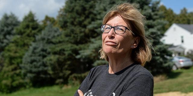 Former Iowa State Sen. Rita Hart speaks with a reporter at her farm in Wheatland, Iowa, on Tuesday, Aug. 13, 2019. (Caroline Brehman/CQ Roll Call)
