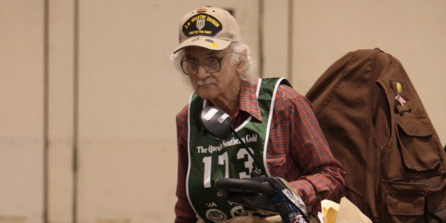 Robert Blatnik at the age of 89, when he took part in competition with nearly 700 military veterans age 55 or older at the National Veterans Golden Age Games. Blatnik won gold medals in shuffleboard, swimming, discus and shot put competitions.