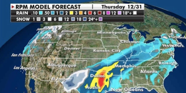 Predicted snow and rainfall totals through Thursday. (Fox News)