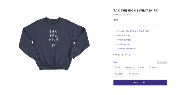 """Rep. Alexandria Ocasio-Cortez, D-N.Y., is dealing with some online backlash over the $58 price tagon a """"Tax the Rich"""" sweatshirt in her campaign shop. Screenshot"""