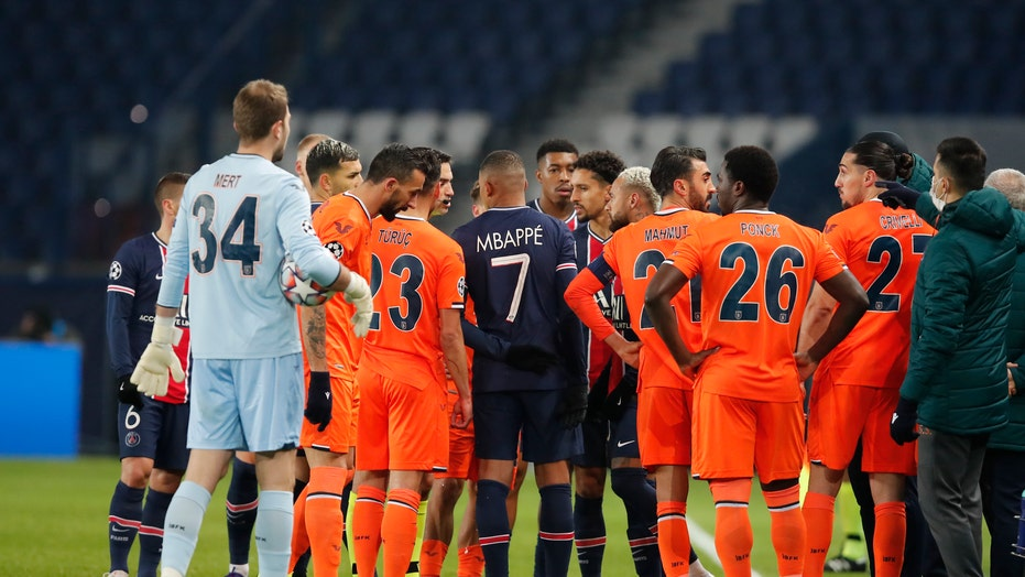 PSG, Istanbul players walk off field protesting alleged racism by referee in Champions League match
