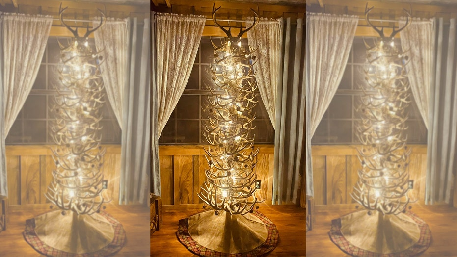 Arkansas man builds Christmas 'tree' out of deer antler sheds: 'I don't plan on ever taking it down'