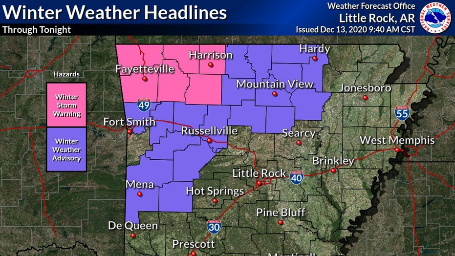 Wintry weather hits Arkansas, sparking winter storm warnings