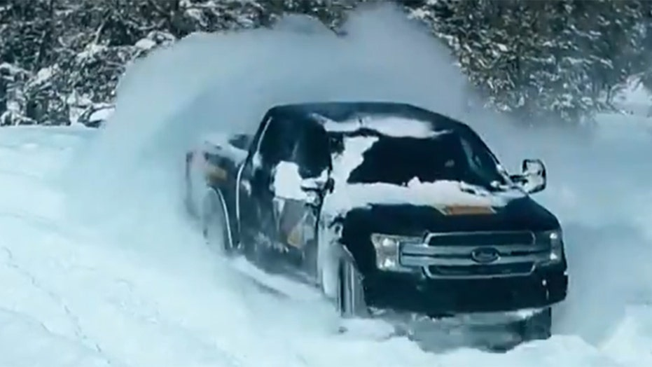 Electric Ford F-150 drifts through the snow in new video
