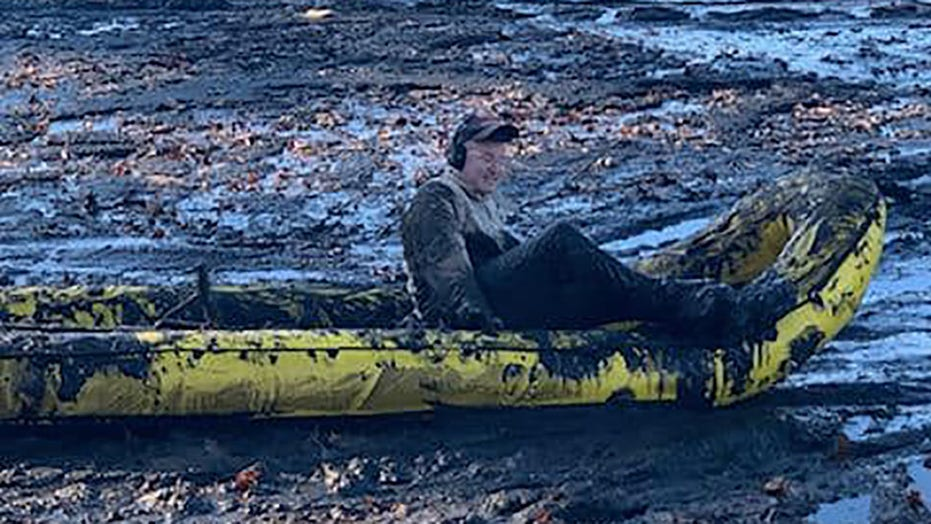 Massachusetts firefighters rescue man stuck chest-deep in mud of drained pond