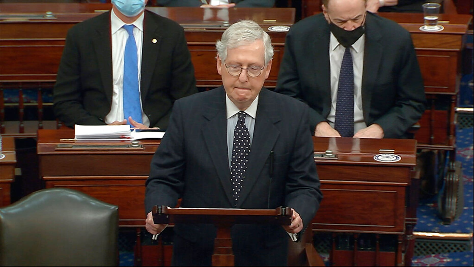 In this image from video, Senate Majority Leader Mitch McConnell of Ky., speaks as the Senate reconvenes after protesters stormed into the U.S. Capitol on Wednesday, Jan. 6, 2021. McConnell opposed Trump-backed efforts by Republicans to overturn the presidential election in Congress. He now is said to be furious with the president and believes that a second impeachment could help excise Trump and his movement from the GOP. (Senate Television via AP)
