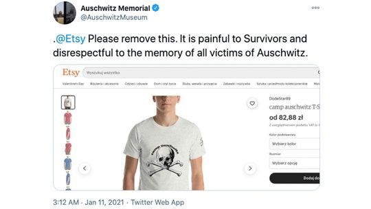 Etsy pulls 'Camp Auschwitz' shirt after Auschwitz Memorial spots item for sale on site