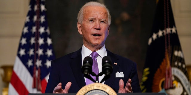 President Joe Biden comments on COVID-19 in the White House State Dining Room on Tuesday, January 26, 2021, in Washington.  (AP Photo / Evan Vucci)
