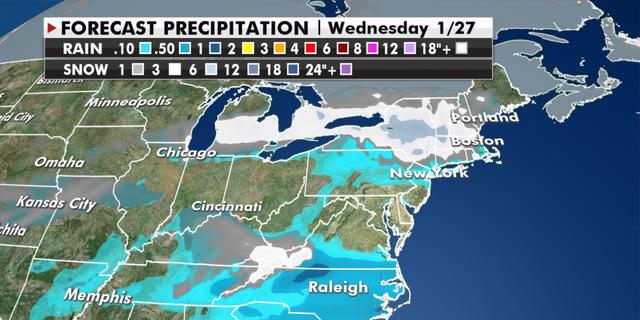 Projected rain and snowfall totals. (Fox News)