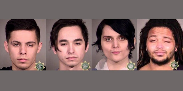 Multnomah County District Attorney Mike Schmidt announced charges against four people arrested during the Portland, Ore., protests against President Joe Biden's inauguration on Wednesday.<br> From left: Kai-Ave Douvia, Austin Nuchraska, Nicole Rose, Trevor Colter. (Multnomah County Sheriff's Office)