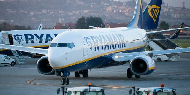 Bergamo, Italy - March 18, 2016: Ryanair B737 takes a taxi to Bergamo-Orio al Serio International Airport. Ryanair's flight from Dublin, Ireland to Krakow, Poland on Sunday was redirected to Berlin, Germany due to g