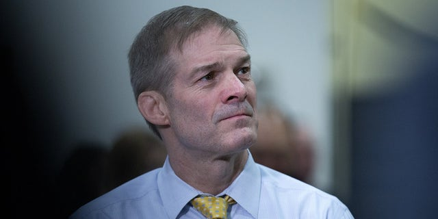 Representative Jim Jordan, a Republican from Ohio, pauses while speaking to members of the media in the Senate Subway at the U.S. Capitol in Washington, D.C., Thursday, Jan. 30, 2020. (Photographer: Stefani Reynolds/Bloomberg via Getty Images)