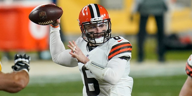 Cleveland Browns quarterback Baker Mayfield (6) throwing a pass during a wild-card playoff game against the Pittsburgh Steelers this past January.