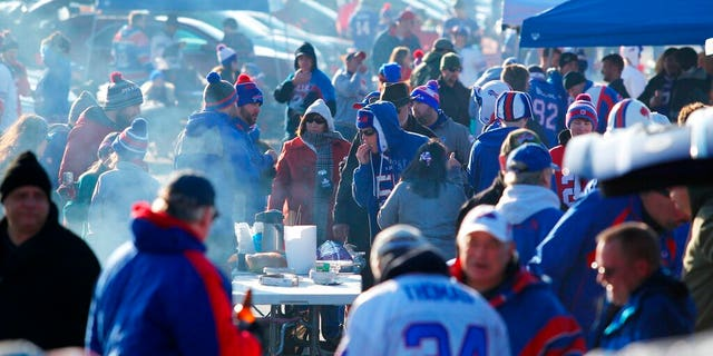 Fans arrive to tailgate before an NFL football game between the Buffalo Bills and the Jacksonville Jaguars in Orchard Park, N.Y., Nov. 27, 2016 photo. (AP Photo/Bill Wippert, File)