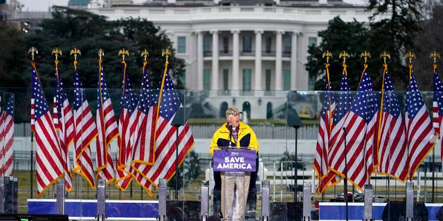 "With the White House in the background, Rep. Mo Brooks, R-Ark., speaks Wednesday, Jan. 6, 2021, in Washington, D.C., at a rally in support of President Donald Trump called the ""Save America Rally."" (AP Photo/Jacquelyn Martin)"