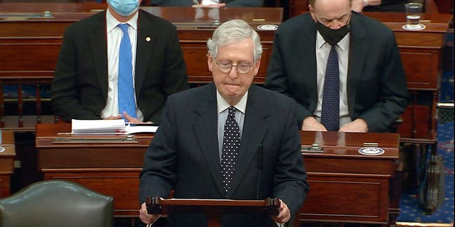 In this image from video, Senate Majority Leader Mitch McConnell of Ky., speaks as the Senate reconvenes after protesters stormed into the U.S. Capitol on Wednesday, Jan. 6, 2021. McConnell opposed Trump-backed efforts by Republicans to overturn the presidential election in Congress. He now is said to be furious with the president and believes that a second impeachment could help exorcise Trump and his movement from the GOP. (Senate Television via AP)