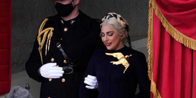Lady Gaga arrives to perform the National Anthem during the 59th Presidential Inauguration at the U.S. Capitol in Washington, Wednesday, Jan. 20, 2021.
