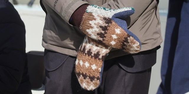 After his mittens went viral on Wednesday, Sanders said he was glad that Vermont-made mittens were getting attention. (Jonathan Ernst/Pool Photo via AP)