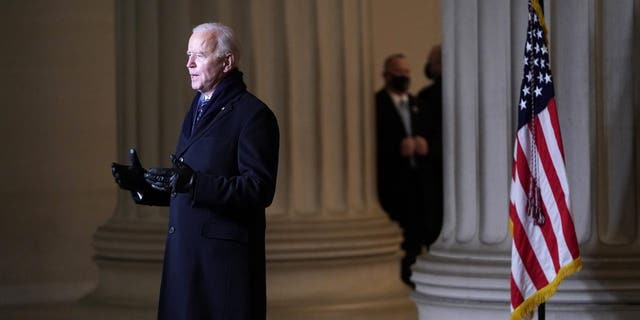President Joe Biden addresses the nation at the Celebrating America concert at the Lincoln Memorial in Washington, Wednesday, Jan. 20, 2021, after his inauguration.. (Joshua Roberts/Pool photo via AP)