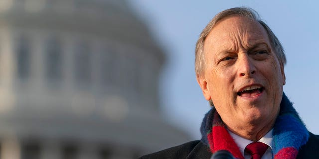 """FILE - In this Dec. 3, 2020 file photo Freedom Caucus chairman Rep. Andy Biggs, R-Ariz., speaks on Capitol Hill in Washington. Biggs sent President Biden a letter denoucing the """"door-to-door"""" coronavirus campaign. (AP Photo/Jacquelyn Martin,File)"""