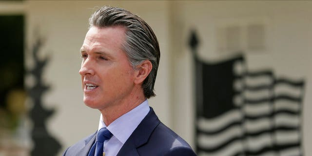 Gov. Gavin Newsom speaks during a news conference at the Veterans Home of California in Yountville, Calif.