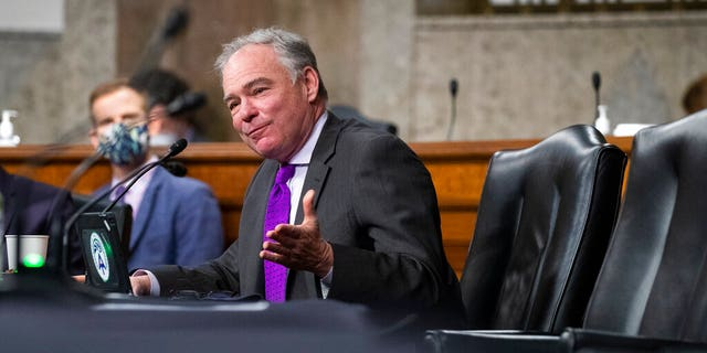 Senator Tim Kaine, D-Va., Questions U.S. Ambassador to UN nominee Linda Thomas-Greenfield during her confirmation hearing before the Senate Foreign Relations Committee on Capitol Hill, Wednesday, January 27, 2021, in Washington.  (Michael Reynolds / Pool via AP)