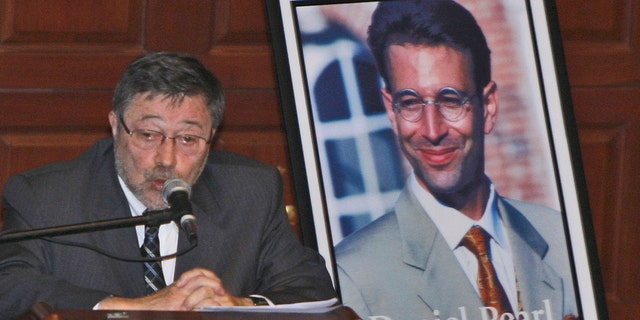 FILE - In this April 15, 2007, file photo, Dr. Judea Pearl, father of American journalist Daniel Pearl, who was killed by terrorists in 2002, speaks in Miami Beach, Fla. Pakistan's Supreme Court on Thursday, Jan. 28, 2021, ordered the release of Ahmad Saeed Omar Sheikh who was convicted and later acquitted in the gruesome beheading of American journalist Pearl in 2002. The court also dismissed an appeal of Sheikh's acquittal by Pearl's family. (AP Photo/Wilfredo Lee, File)